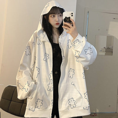 Anime Bear Jacket Loose Fit Hooded Sweatshirt Hoodie BF style Blazer cardigan