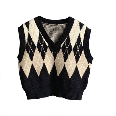2021 argyle V-neck knitwear women loose fit crop top vest checkered sweater