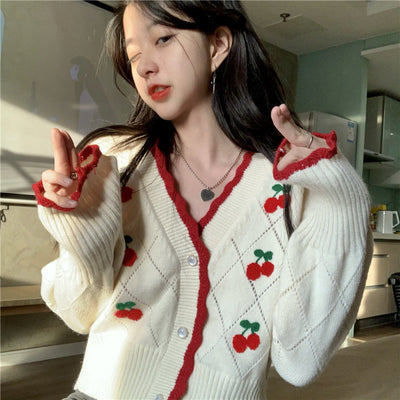 new cute retro- Korean argyle knits love cherries knitwear embroidery lace trim cardigan