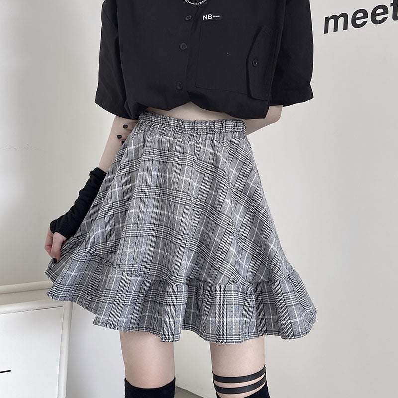 Harajuku Dark Gothic High Waist Plaid A-line Pleated Skirt Splicing Cargo dress