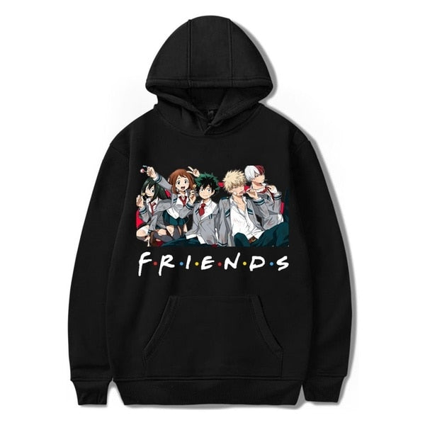 SuperHero Oversized Hip Hop Women Men Hipster Streetstyle Chic My Hero Academia Friends Parody Streetwear Hoodie Sweatshirt Tops