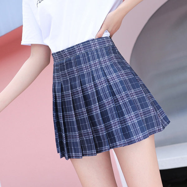 Japanese Style Anime High Waist Stitching Student Pleated Skater Skirts Women Cute Sweet Girls Mini Skirt Pants