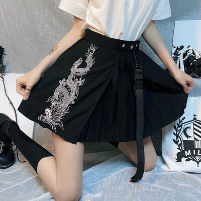 Dark Gothic Harajuku Dragon Pattern Retro Embroidery Irregular Pleated Dress A-line Mini Skirt