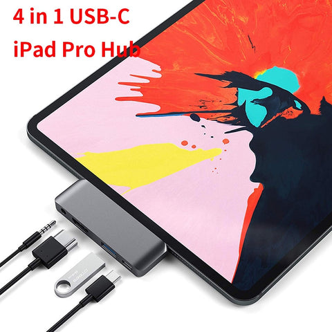 4in1 USB Type-C Mobile Video Hub Adapter with USB-C PD Charging 4K HDMI USB 3.0 & 3.5mm Audio Jack For 2018 iPad Pro