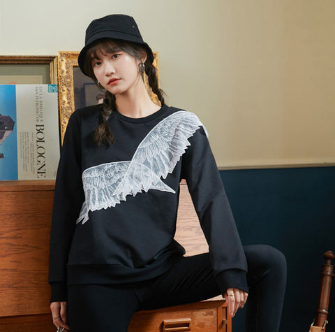The new black sweater Embroidered Angel Wing Lace Applique sweatshirt pullover 2021