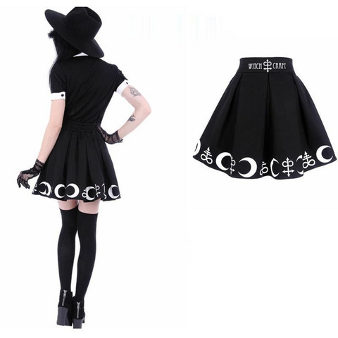 gothic kawaii plus size crescent witch craft letter print skirt minidress skater for girls