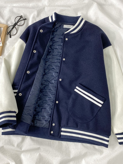 Korean loose fit BF Boyfriend style Warm Lining Baseball Jacket Girl Instashop casual coat 11-17