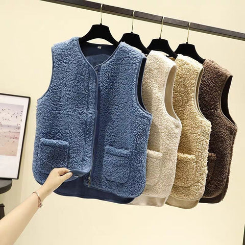 Fleece vest Korean style sleeveless vest cardigan with zipper and pockets suede lining