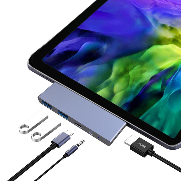 For 2020 Ipad Pro 5in1 Docking Station Multiport Adaptor Hub 100W Type C to HDMI over 4k/60hz Video Audio Jack Enable USB 3.0 Mouse and keyboard