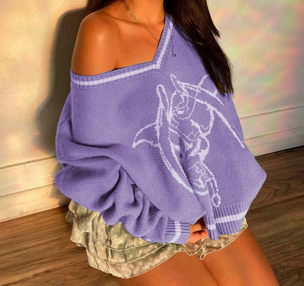 Street trendsetter college style V-neck gothic printed loosefit knitwear long sleeve sweater top for women 2021