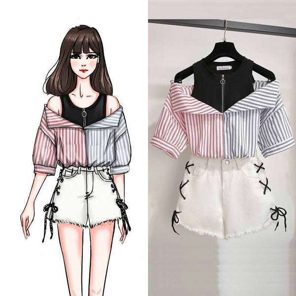 2 pieces Top and pants set combination Sweet Korean off shoulder Summer Kawaii Girls Style