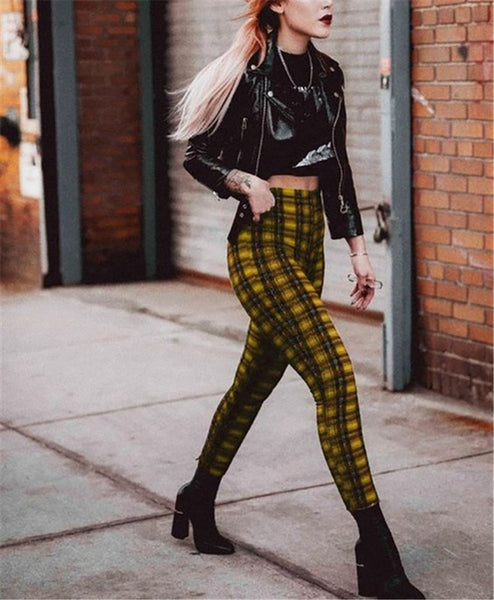 2021 checkered plaid high waisted women leggings casual chic stretch pencil pants capris length plus size