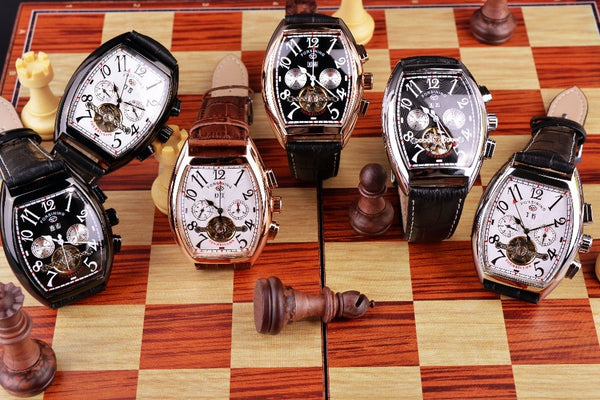 Forsining Rectangular Case Rose Gold Case Mens Watches Luxury Automatic Watch Mechanical Watch