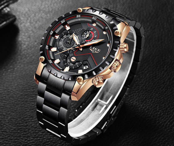 New LIGE Luxury Mens Watch Men Sport Waterproof Quartz Watches Men All Steel Army Military Watch Relogio Masculino
