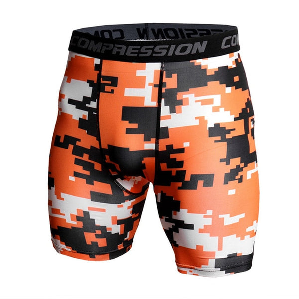 Skinny Shorts Men Casual Compression Elastic Waist Short Homme Sportswear Quick Dry Camouflage Printed Shorts