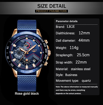 LIGE Blue Casual Mesh Band Quartz Mens Watches Luxury Waterproof Clock WristWatch Relogio Masculino