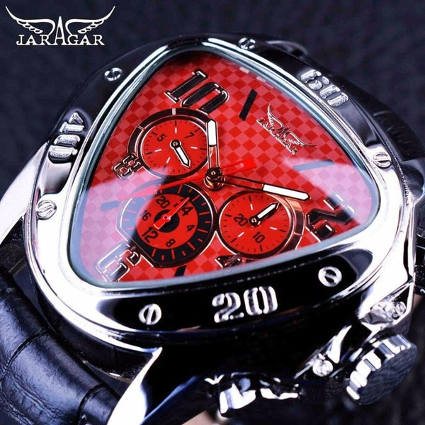 Jaragar Luxury Mechanical Automatic Men Watch Triangle 3 Dial Men Chic Fashion Sport Wristwatch