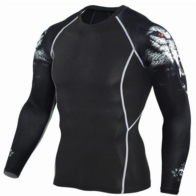 Wolf Sportswear Rash Guard Sport Shirt Men Compression Pants Gym Running Shirt Men Fitness Leggings Clothes Tight Suit