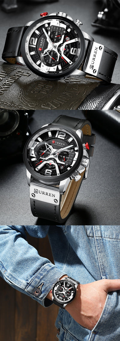 CURREN Chic Fashionable Sport Watch for Men Blue Top Brand Luxury Military Leather Chronograph WristWatch