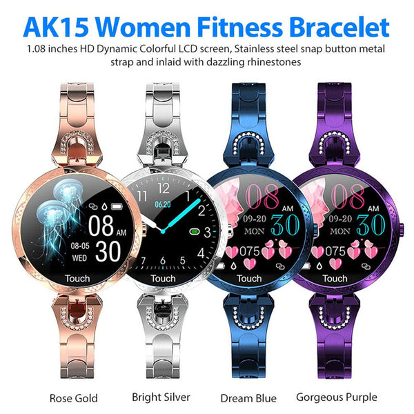 AK15 Women ladies Smart Watch Fashion Watch Waterproof Heart rate step fitness tracker for Android IOS