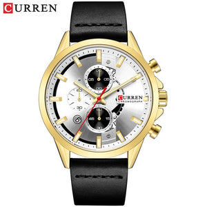 Men's Sports Watch with Chronograph CURREN 2019 Leather Strap Watches Fashion Quartz Wristwatch Business Calendar Clock Male