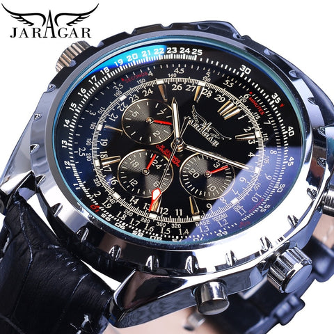 Jaragar Automatic Mechanical Calendar Sport Watches Pilot Design Men's Wrist Watch Leather Band