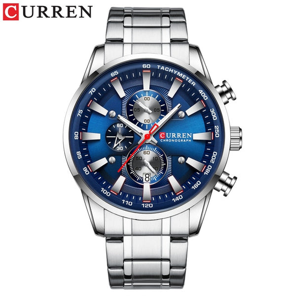 CURREN Black Gold Watch Quartz Sports Wristwatch Chronograph Clock Date Watches Stainless Steel Male Watch