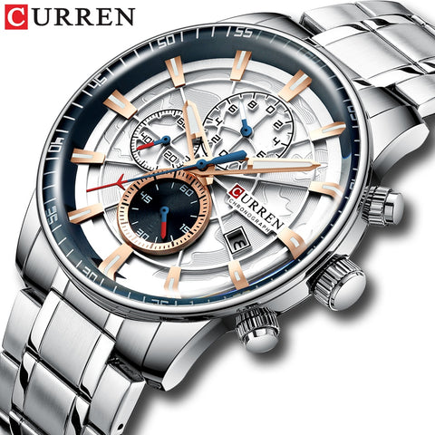 Luxury Mens Watches CURREN Stainless Steel Multi-function Chronograph Quartz Wristwatch Relogio Masculino