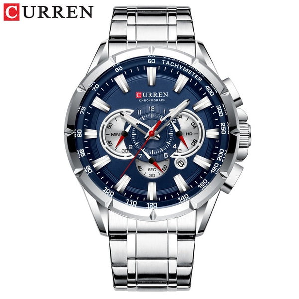 CURREN New Causal Sport Chronograph Men's Watch Stainless Steel Big Dial with Luminous Pointers