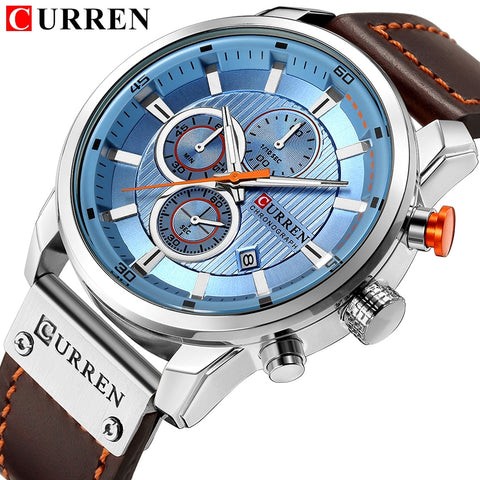 Men Chronograph Quartz Miitary Watch Sports Wrist Watch Leather Strap CURREN