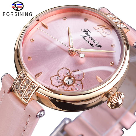 Forsining Diamond Flower Design Mechanical Watch Women Romantic Pink Genuine Leather Luminous with Date Calendar