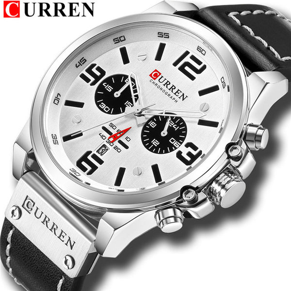 CURREN Mens Watches Top Luxury Brand Waterproof Sport Wrist Watch Chronograph Quartz Military Leather Relogio Masculino
