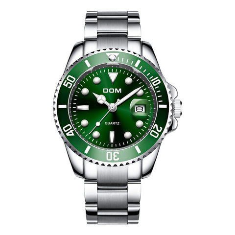 Top Brand luxury DOM Waterproof Calender Sport Watch Quartz Luminous Wristwatch Green relogio masculino