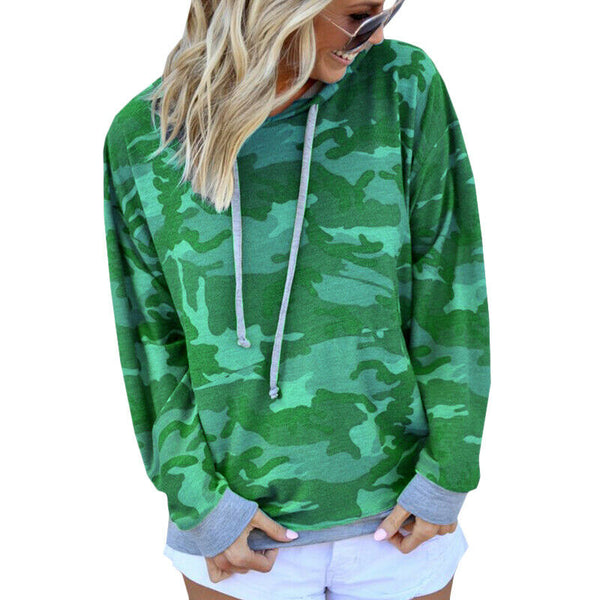 Womens Camouflage Camo Hoodies Tops Sweatshirt Ladies Hooded Jumper Pullover
