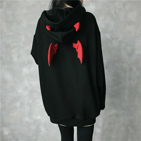 Girl Little Devil Wings Oversize Hoodie Sweatshirt Harajuku HELLBOY Wings Punk Gothic
