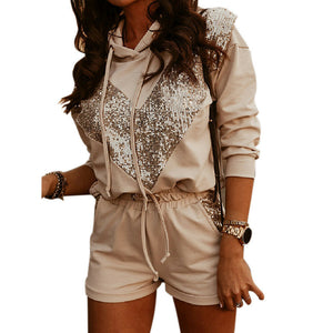 Womens Tracksuits Set Hooded Sweater Shorts Drawstring Sequin Lounge Ladies Top Suit Pants Sportswear