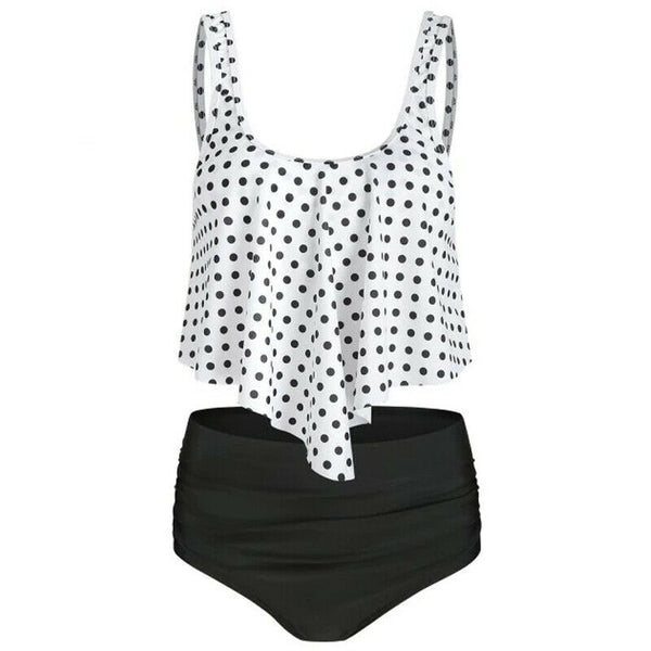 Womens Swimwear High Waisted Ruffled Tummy Control Bikini Swimsuit Tankini Set 1918