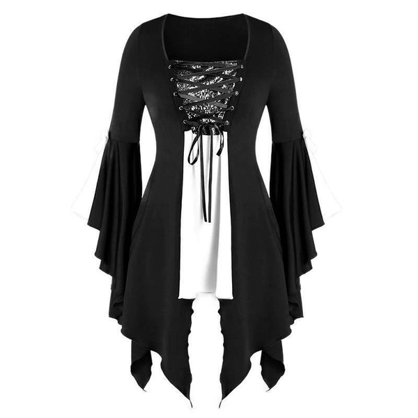 Halloween Party Gothic Vintage Blouse Witch Cosplay Flared Sleeves Women Sequin Bandage Irregular Tunic