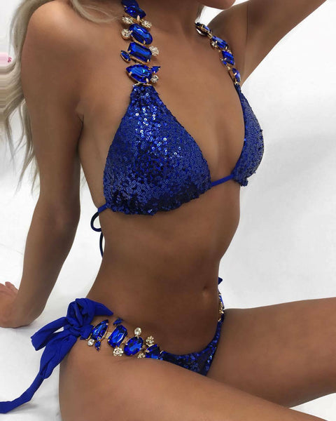 Deluxe Swimwear Bikini Monokini with Rhinestone Sequin Diamond Woman RHIN04