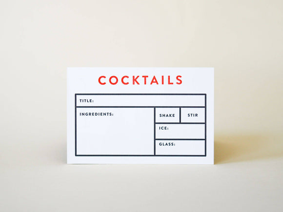 Cocktail Recipe Card Set