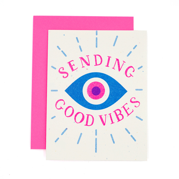 Sending Good Vibes Evil Eye Risograph Card