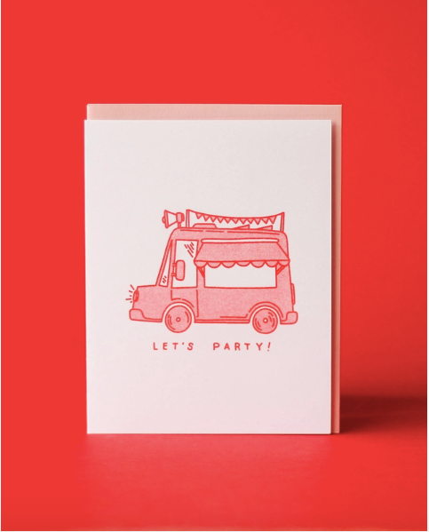 Let's Party Risograph Greeting Card