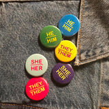 She/Her Pin-back Button (Purple)