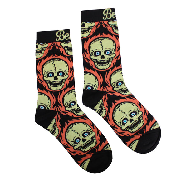 Beistle® Flaming Skull Socks