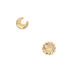 Gold Sun and Moon Stud Earrings