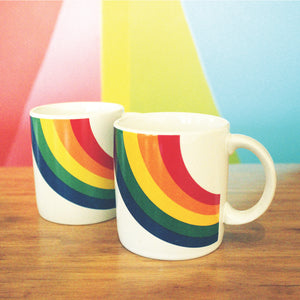 Vintage F.T.D.A. Rainbow Ceramic Coffee Mug Set