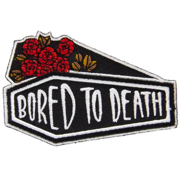 Bored To Death Coffin Iron On Patch