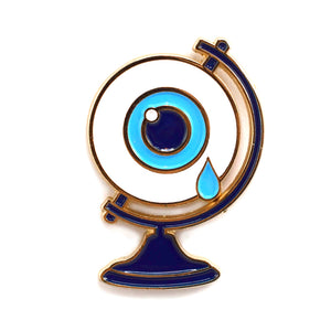 Crying Eyeball Globe Enamel Pin