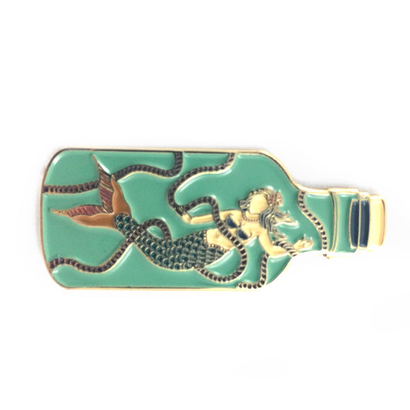 Mermaid in Bottle Enamel Pin