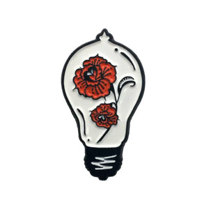 Lightbulb And Red Roses Enamel Pin